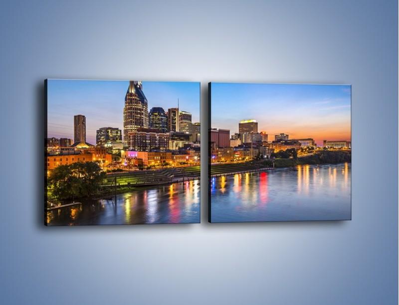 Obraz na płótnie – Nashville nad rzeką Cumberland – dwuczęściowy kwadratowy poziomy AM491
