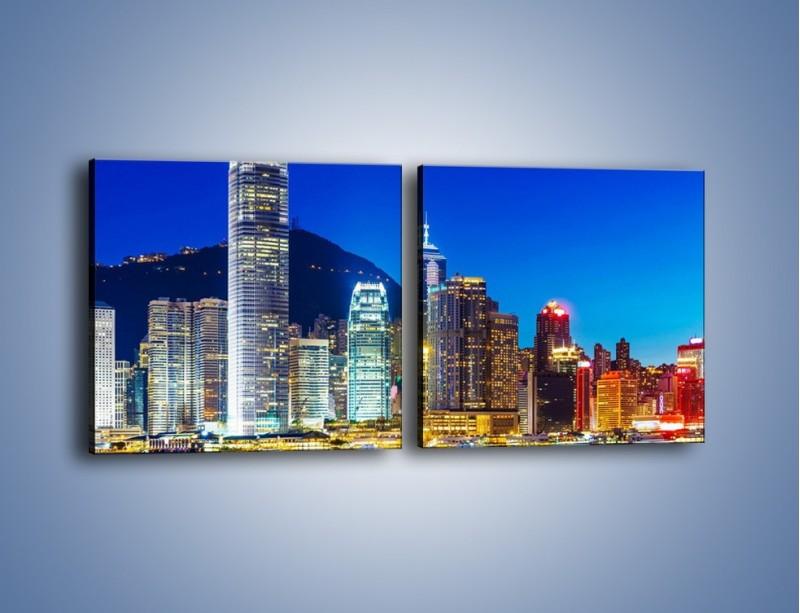 Obraz na płótnie – Oświetlone wieżowce Hong Kongu – dwuczęściowy kwadratowy poziomy AM498