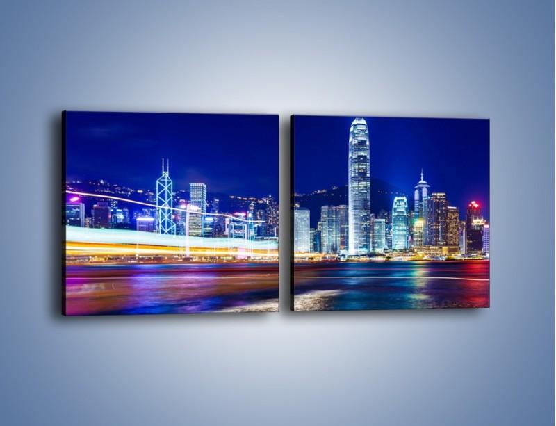Obraz na płótnie – Panorama Hong Kongu – dwuczęściowy kwadratowy poziomy AM499