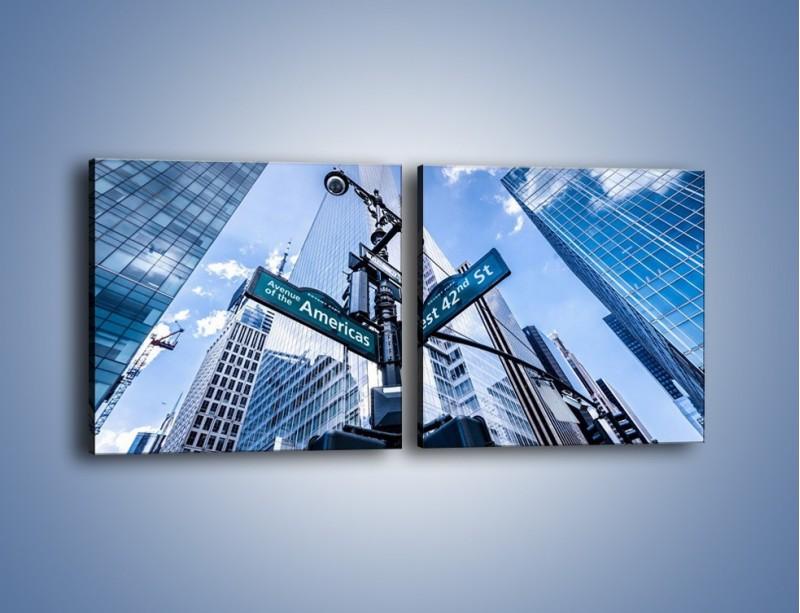 Obraz na płótnie – Skrzyżowanie ulic w Nowym Jorku – dwuczęściowy kwadratowy poziomy AM501