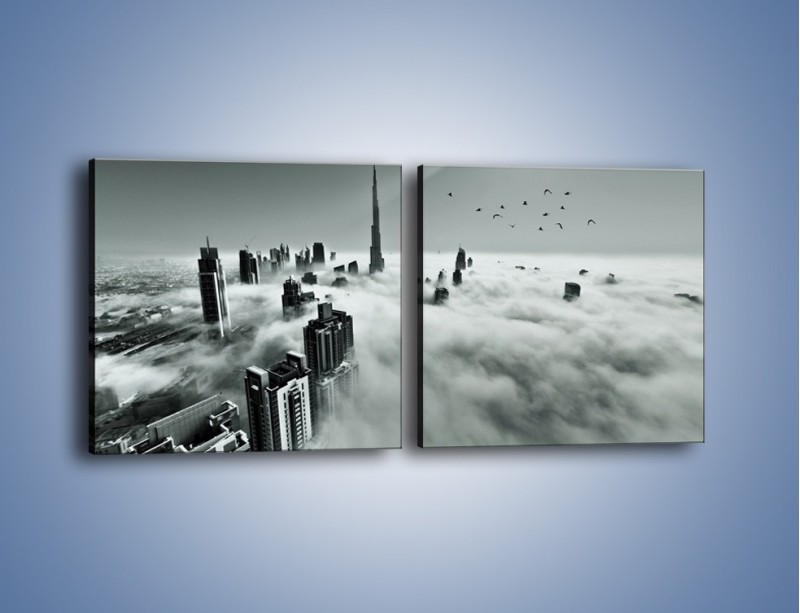 Obraz na płótnie – Centrum Dubaju we mgle – dwuczęściowy kwadratowy poziomy AM502