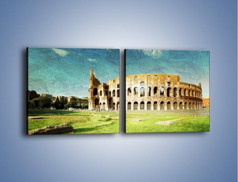 Obraz na płótnie – Koloseum w stylu vintage – dwuczęściowy kwadratowy poziomy AM503
