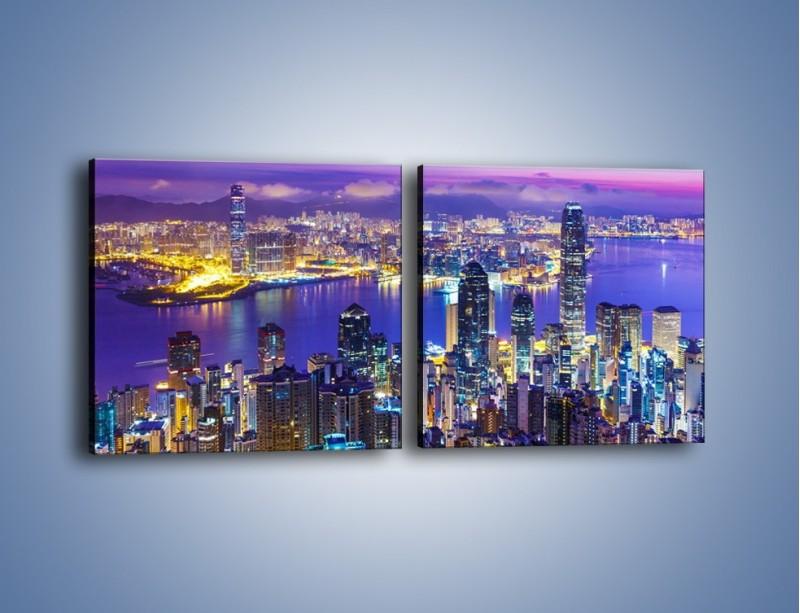 Obraz na płótnie – Wieczorna panorama Hong Kongu – dwuczęściowy kwadratowy poziomy AM505