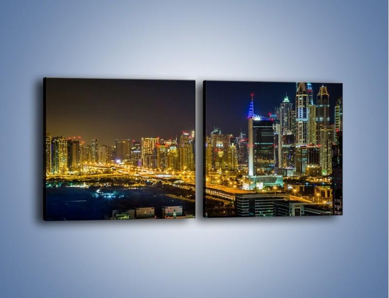 Obraz na płótnie – Oświetlony Dubaj nocą – dwuczęściowy kwadratowy poziomy AM506