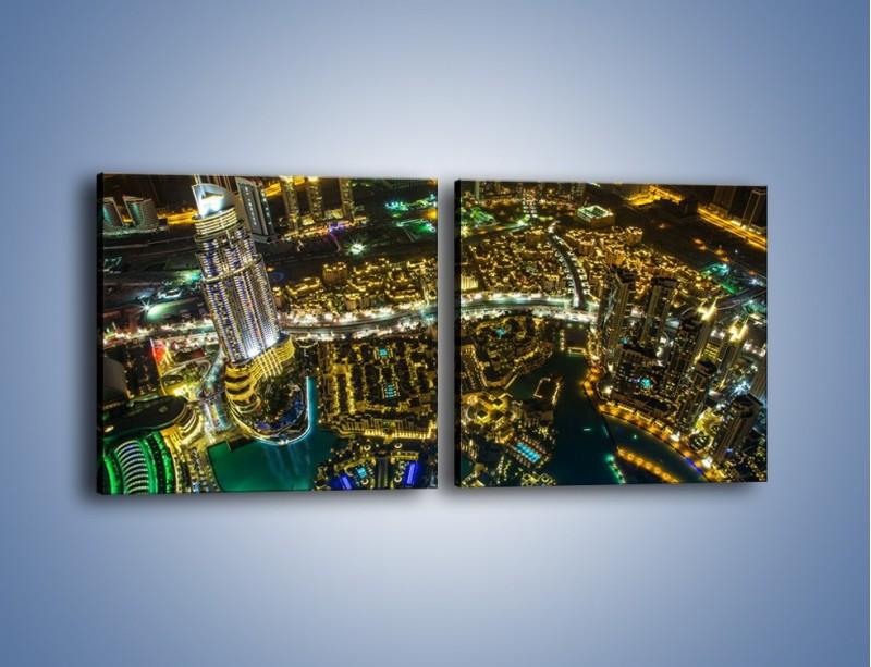 Obraz na płótnie – Dubaj nocą z lotu ptaka – dwuczęściowy kwadratowy poziomy AM507