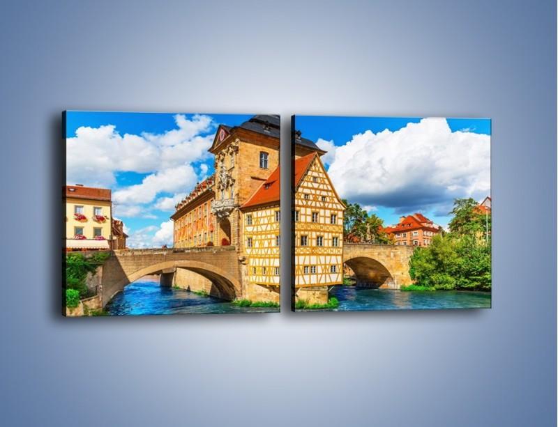 Obraz na płótnie – Ratusz w mieście Bamberg – dwuczęściowy kwadratowy poziomy AM513