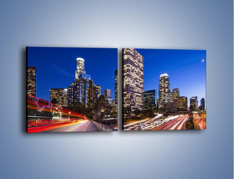 Obraz na płótnie – Los Angeles w wieczornych światłach – dwuczęściowy kwadratowy poziomy AM522