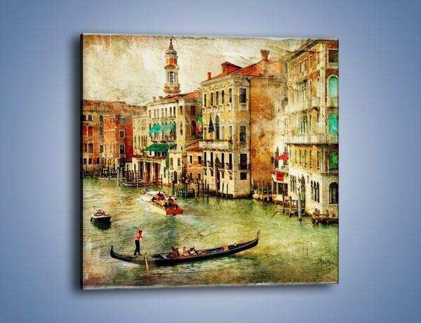 Obraz na płótnie – Weneckie Canal Grande w stylu vintage – jednoczęściowy kwadratowy AM643
