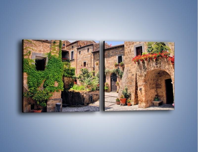 Obraz na płótnie – Romantyczna uliczka we Włoszech – dwuczęściowy kwadratowy poziomy AM533