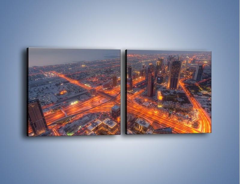 Obraz na płótnie – Panorama Dubaju o poranku – dwuczęściowy kwadratowy poziomy AM538