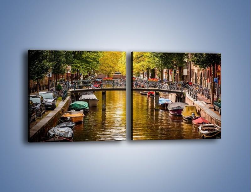 Obraz na płótnie – Most nad amsterdamskim kanałem – dwuczęściowy kwadratowy poziomy AM552