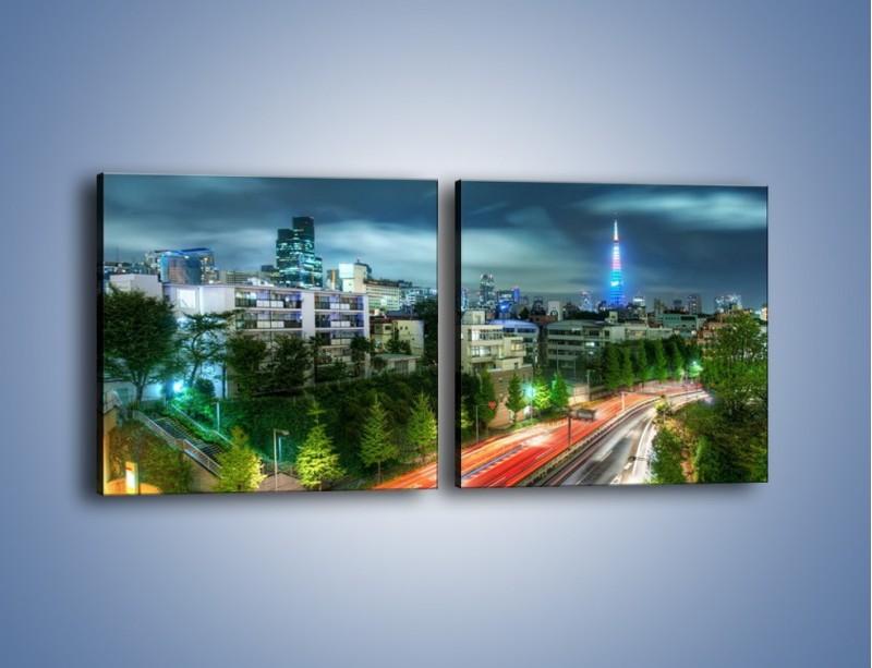Obraz na płótnie – Miasto Roppongi w Japonii – dwuczęściowy kwadratowy poziomy AM593