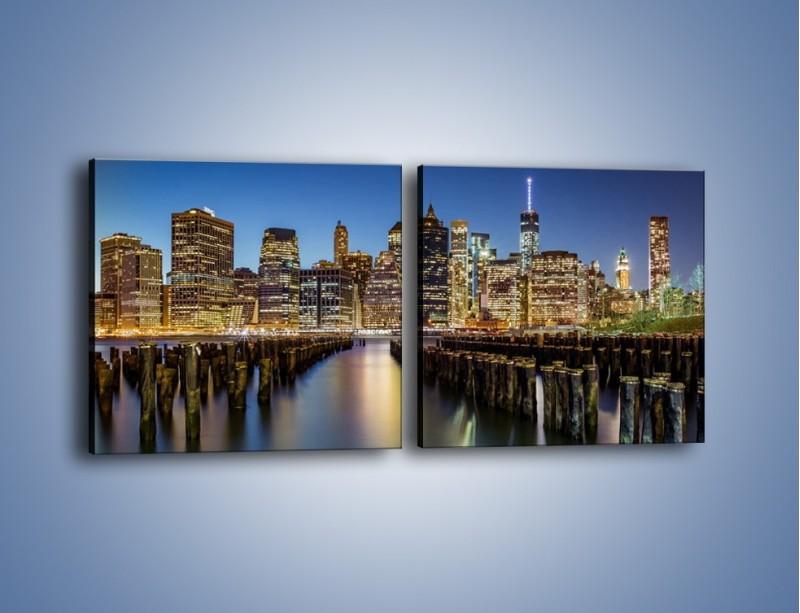 Obraz na płótnie – Zniszczone molo i widok na Manhattan – dwuczęściowy kwadratowy poziomy AM601