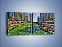 Obraz na płótnie – Chicago River w Dzień św. Patryka – dwuczęściowy kwadratowy poziomy AM605
