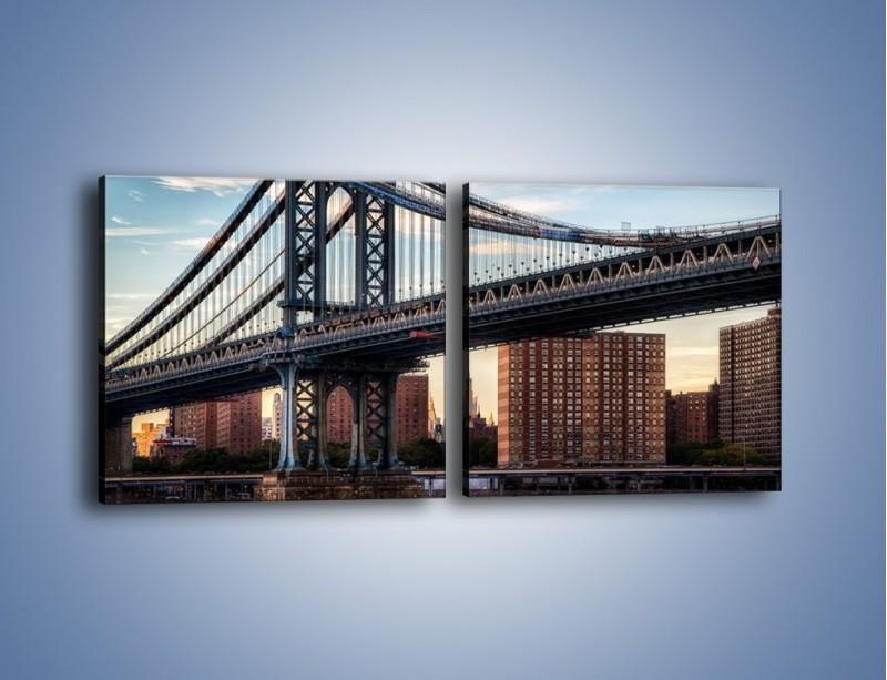 Obraz na płótnie – Manhattan Bridge – dwuczęściowy kwadratowy poziomy AM607