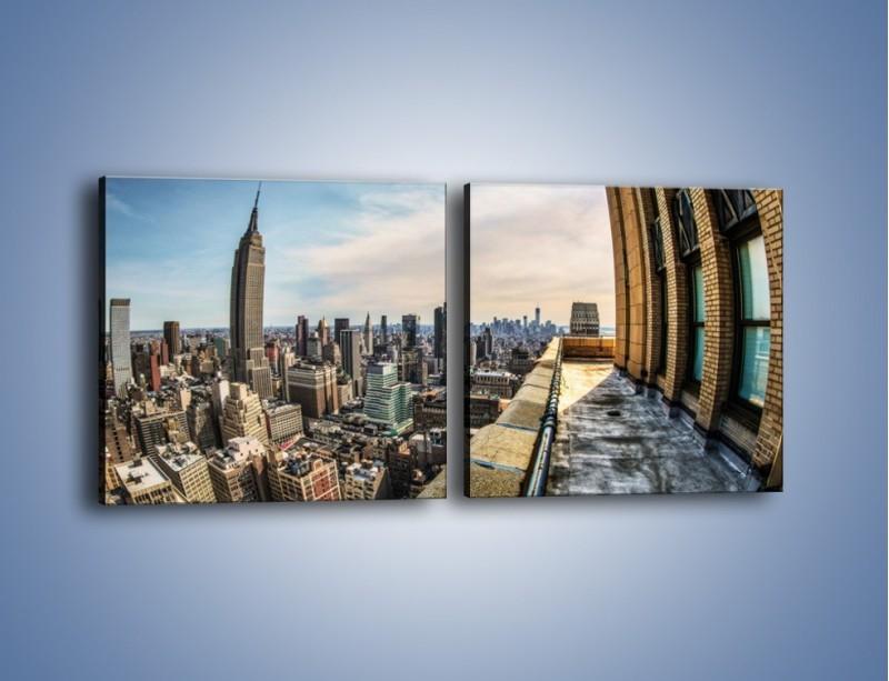 Obraz na płótnie – Empire State Building na Manhattanie – dwuczęściowy kwadratowy poziomy AM610