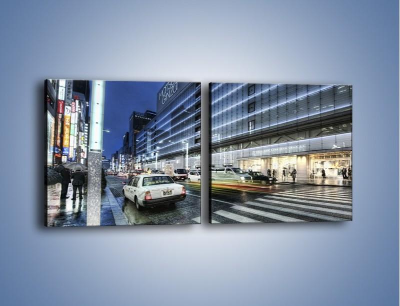 Obraz na płótnie – Ulica Tokyo w deszczu – dwuczęściowy kwadratowy poziomy AM613