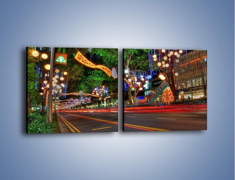 Obraz na płótnie – Noworoczne dekoracje w Singapurze – dwuczęściowy kwadratowy poziomy AM616