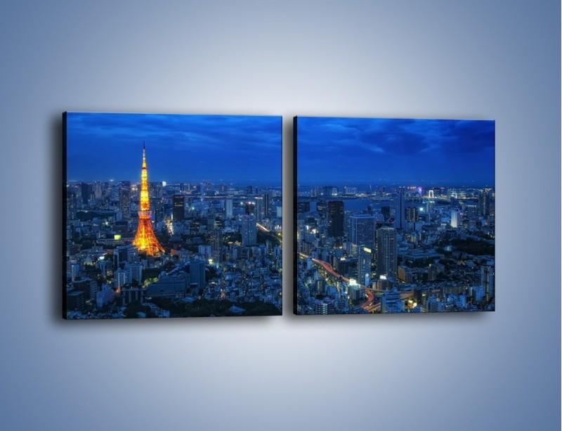 Obraz na płótnie – Tokyo Tower w Japonii – dwuczęściowy kwadratowy poziomy AM621