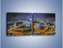 Obraz na płótnie – Burza nad Bangkokiem – dwuczęściowy kwadratowy poziomy AM622