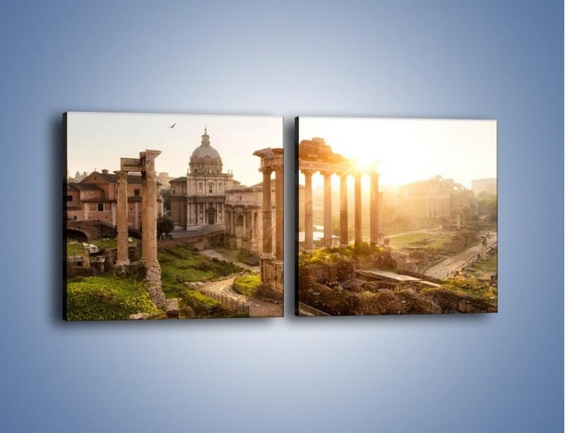 Obraz na płótnie – Starożytna architektura Rzymu – dwuczęściowy kwadratowy poziomy AM638