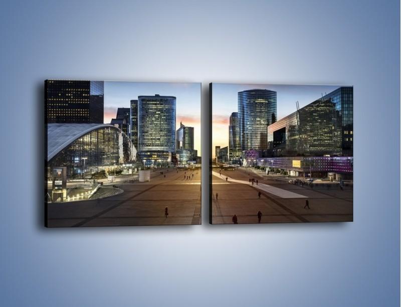 Obraz na płótnie – Quartier La Défense w Paryżu – dwuczęściowy kwadratowy poziomy AM647