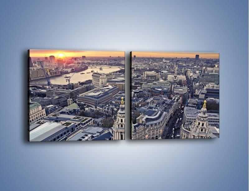 Obraz na płótnie – Widok na Londyn z Katedry św. Pawła – dwuczęściowy kwadratowy poziomy AM652