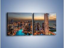 Obraz na płótnie – Centrum Dubaju wieczorową porą – dwuczęściowy kwadratowy poziomy AM656
