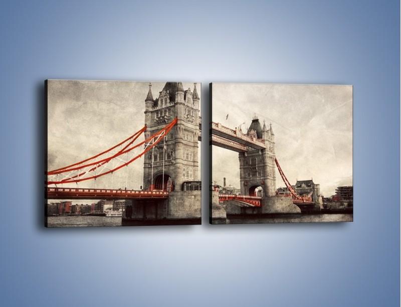 Obraz na płótnie – Tower Bridge w stylu vintage – dwuczęściowy kwadratowy poziomy AM668