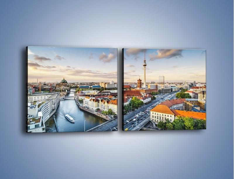 Obraz na płótnie – Panorama Berlina – dwuczęściowy kwadratowy poziomy AM673