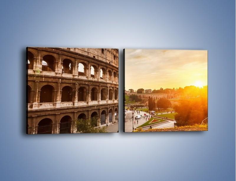 Obraz na płótnie – Rzymskie Koloseum o zachodzie słońca – dwuczęściowy kwadratowy poziomy AM684