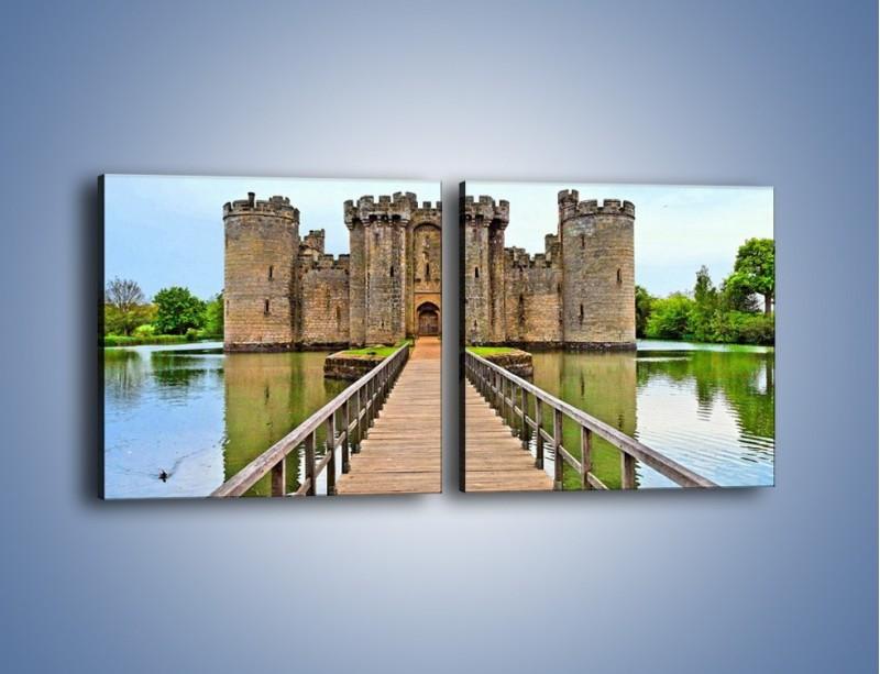 Obraz na płótnie – Zamek Bodiam w Wielkiej Brytanii – dwuczęściowy kwadratowy poziomy AM692