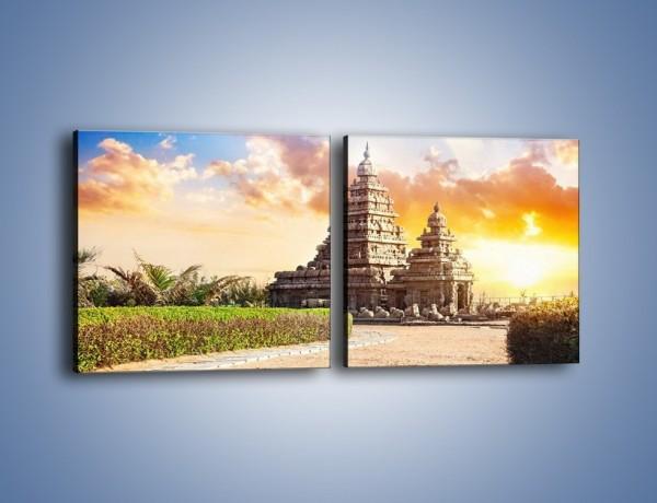Obraz na płótnie – Świątynia Śiwy o zachodzie słońca – dwuczęściowy kwadratowy poziomy AM696