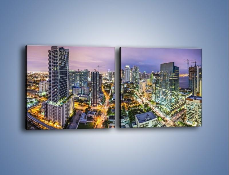 Obraz na płótnie – Centrum Miami – dwuczęściowy kwadratowy poziomy AM702