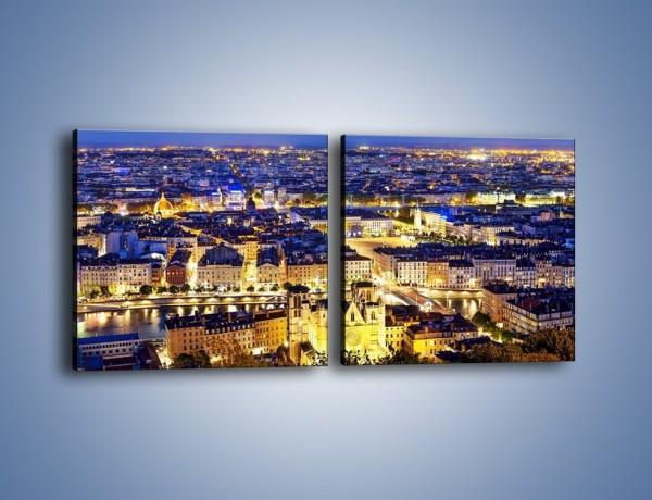 Obraz na płótnie – Nocna panorama Lyonu – dwuczęściowy kwadratowy poziomy AM707