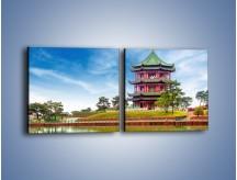 Obraz na płótnie – Chiński ogród w Singapurze – dwuczęściowy kwadratowy poziomy AM715