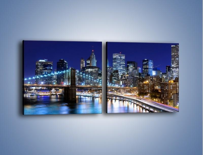Obraz na płótnie – Nocne światła Nowego Yorku – dwuczęściowy kwadratowy poziomy AM726
