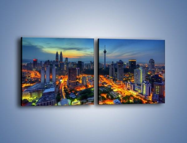 Obraz na płótnie – Zapadający wieczór nad Kuala Lumpur – dwuczęściowy kwadratowy poziomy AM727