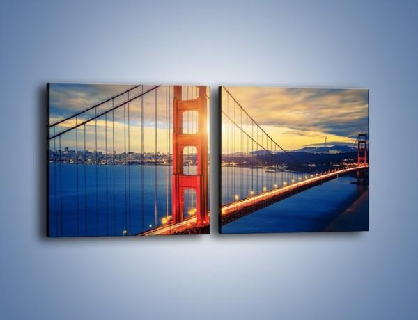 Obraz na płótnie – Zachód słońca nad Mostem Golden Gate – dwuczęściowy kwadratowy poziomy AM738