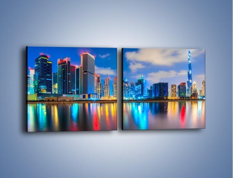 Obraz na płótnie – Kolory Dubaju odbite w wodzie – dwuczęściowy kwadratowy poziomy AM740