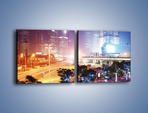 Obraz na płótnie – Ulice Szanghaju w nocy – dwuczęściowy kwadratowy poziomy AM744