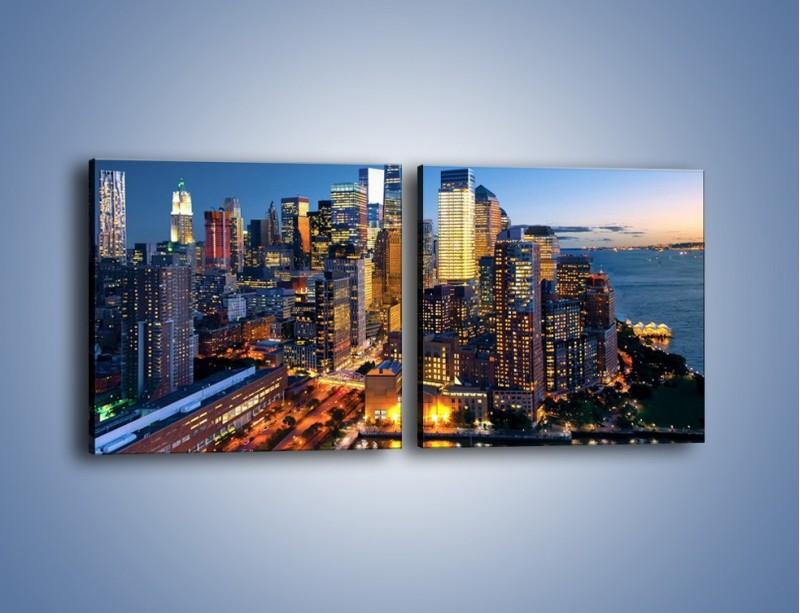 Obraz na płótnie – Zmierzch nad Manhattanem – dwuczęściowy kwadratowy poziomy AM749