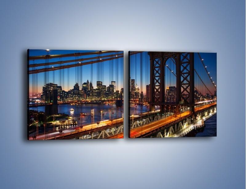 Obraz na płótnie – Nowojorskie mosty na tle Manhattanu – dwuczęściowy kwadratowy poziomy AM751