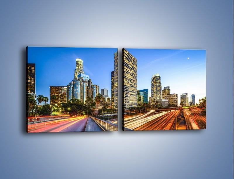 Obraz na płótnie – Światła Los Angeles o zmierzchu – dwuczęściowy kwadratowy poziomy AM753