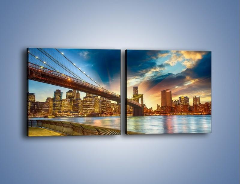 Obraz na płótnie – Most w Nowym Jorku o zmierzchu – dwuczęściowy kwadratowy poziomy AM754