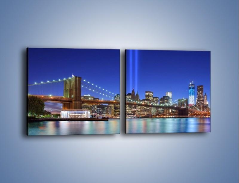 Obraz na płótnie – Świetlne kolumny w Nowym Jorku – dwuczęściowy kwadratowy poziomy AM757