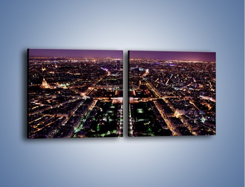 Obraz na płótnie – Panorama Paryża z Wieży Eiffla – dwuczęściowy kwadratowy poziomy AM764