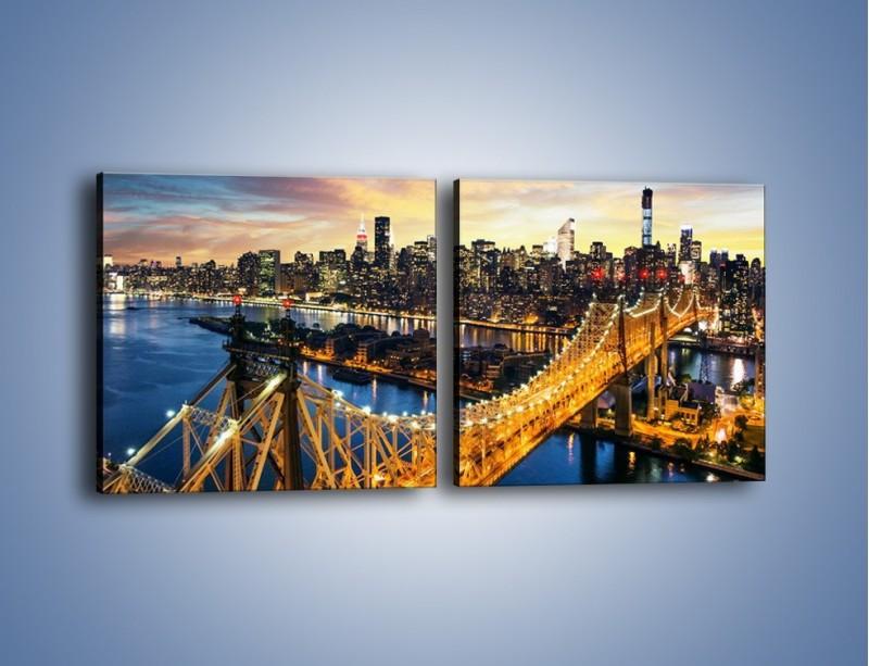 Obraz na płótnie – Queensboro Bridge w Nowym Yorku – dwuczęściowy kwadratowy poziomy AM768
