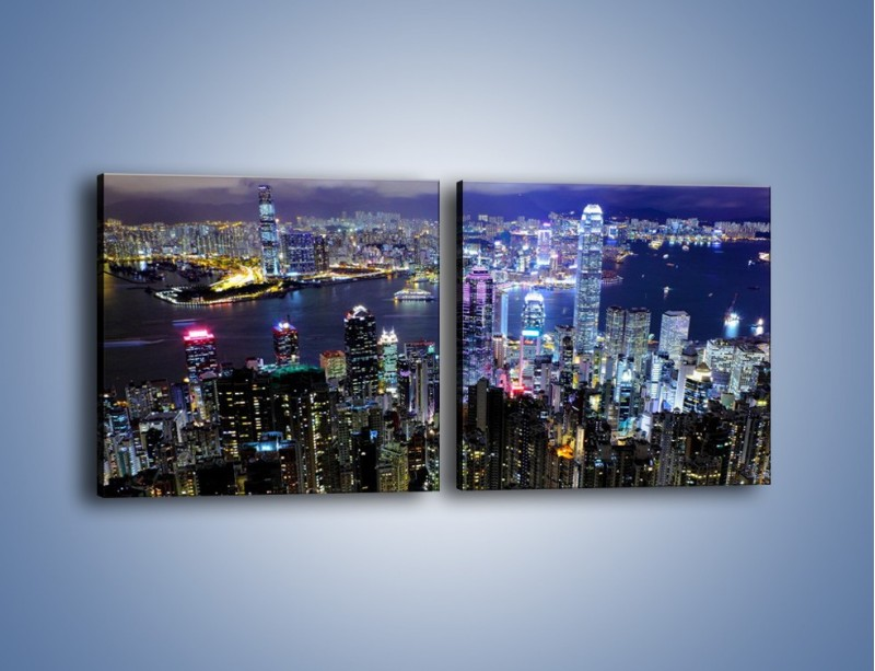 Obraz na płótnie – Nocna panorama Hong Kongu – dwuczęściowy kwadratowy poziomy AM772