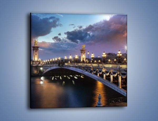 Obraz na płótnie – Most Aleksandra III w świetle lamp – jednoczęściowy kwadratowy AM648